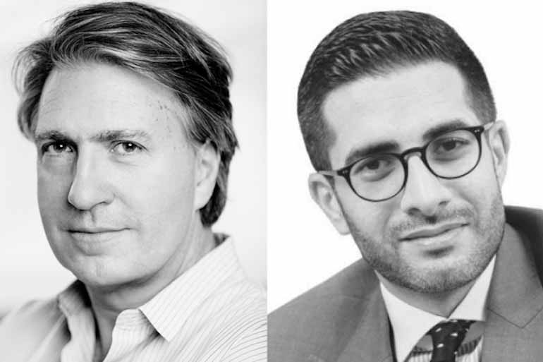 L: Stephan Shakespeare, chief executive of YouGov. R: Faisal J. Abbas, editor in chief of Arab News