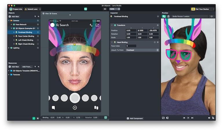 Snap Face Templates 2D Studio Screenshot