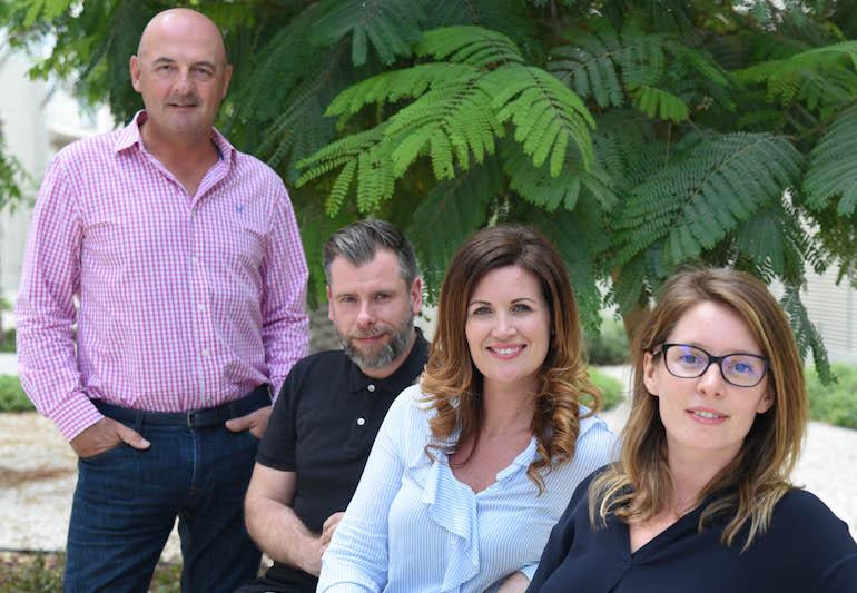 Omnia CEO Steve Haysom w Ed Dickson, Ashling O'Leary and Aurelie FB LR